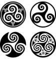 Set of black isolated triskels vector image vector image