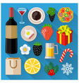 Food and drinks icons set vector image vector image