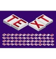 engraved letters isometric top vector image