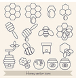 Lines icon set honey and bee vector image