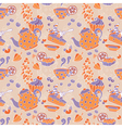 Ornament seamless pattern with tea party objects vector image