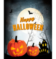 Retro Halloween night background with two pumpkins vector image