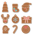 set of Christmas gingerbread Flat design vector image