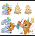 set of with brown teddy bear vector image