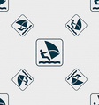 Windsurfing sign Seamless pattern with geometric vector image