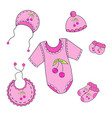122a set of baby clothes for girl in vector image