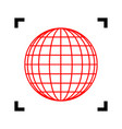 earth globe sign red icon inside black vector image