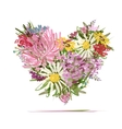 Floral summer bouquet heart shape for your design vector image vector image