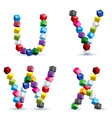 Four letters made of colored blocks vector image