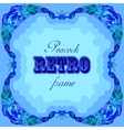 Blue frame with painted peacocks and retro label vector image