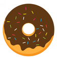 Chocolate frosted ring doughnut vector image