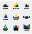 set of mountain logo geometric designs vector image