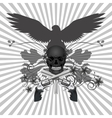 skull with guns and flowers vector image
