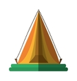 yellow triangle tent tourism travel shadow vector image