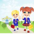 happy schoolgirl and schoolboy near the school vector image vector image