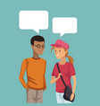 colorful scene half body couple students talking vector image