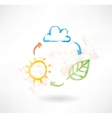 Brush icon with cloud sun and leaf Environment vector image