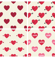 Seamless hearts patterns set vector image vector image