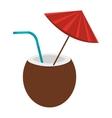 brown coconut with umbrella graphic vector image