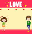 Border design with lovers vector image