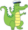 cartoon alligator in sailor cap flat vector image