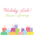 Colorful sale gift boxes celebration card vector image