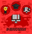 e-education flat concept icons vector image