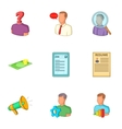Employment agency icons set cartoon style vector image