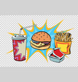 fast food set burger fries drink and sauce vector image