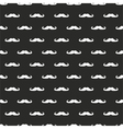 Seamless pattern white mustaches black background vector image