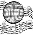 doodle disco ball music vector image vector image