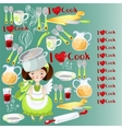 pattern with the little girl and kitchen tools vector image