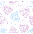 Hand drawn cupcake seamless pattern Outline doodle vector image vector image