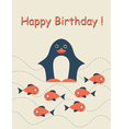 Happy birthday card with penguin vector image