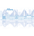 Outline Athens skyline with blue buildings vector image vector image