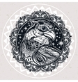 Detailed ornate mandala bird of prey head vector image
