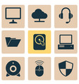 notebook icons set collection of earphone vector image