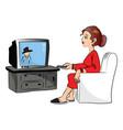 woman watching television vector image