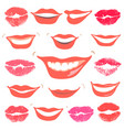 Lovely smiles collection print of lips set vector