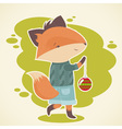 Cute cartoon fox character celebration card vector image vector image