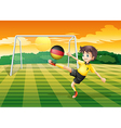A girl kicking the ball with the flag of Germany vector image