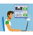 Handsome blackhair man sitting at home and doing vector image vector image