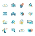 Database analytics icons flat vector image vector image