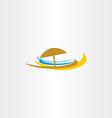beach icon logo tourism sea umbrella vector image