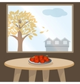 Apples on table by window vector image