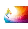 Basketball player jump shot polygonal silhouette vector image