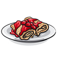 pancakes and cherry jam vector image