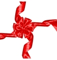 Card with red satin gift bow and ribbon vector image