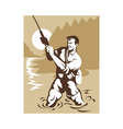 fisherman with rod and reel vector image