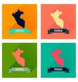 Concept of flat icons with long shadow Peru map vector image